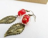 Leaf Earrings - Red, Antiqued Brass