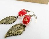 Leaf Earrings - Red, Antiqued Brass