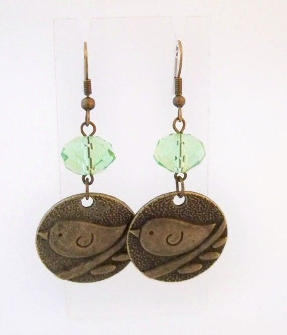 Bird Earrings - Mint Green, Antiqued Brass, handmade