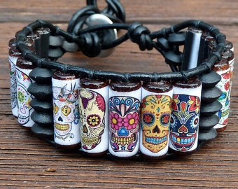 Sugar Skull Cuff Bracelet - Black Leather Bracelet, Dia De Los Muertos, Day of the Dead Skulls