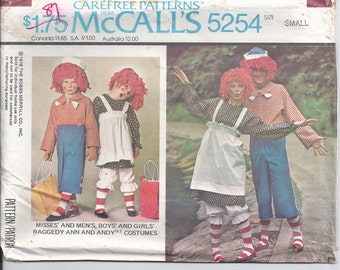 Costume Pattern for Raggedy Ann and Andy .. adult size small McCalls 5254