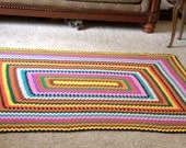 Vintage Afghan, Trip Around the World Pattern, Colorful and Bold