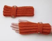 Dark Orange Warm Fingerless Gloves - Wrist Warmers-Ready For Shipping