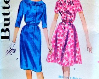 60s Shift Dress Vintage Sewing Pattern Flared Skirt Dress Size 12, Bust 32 Butterick 9964