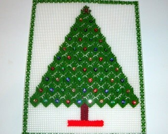Vintage Needlecraft Christmas Tree, Needlepoint, Wall Hanging, Holiday Decor, Decoration  (1253)