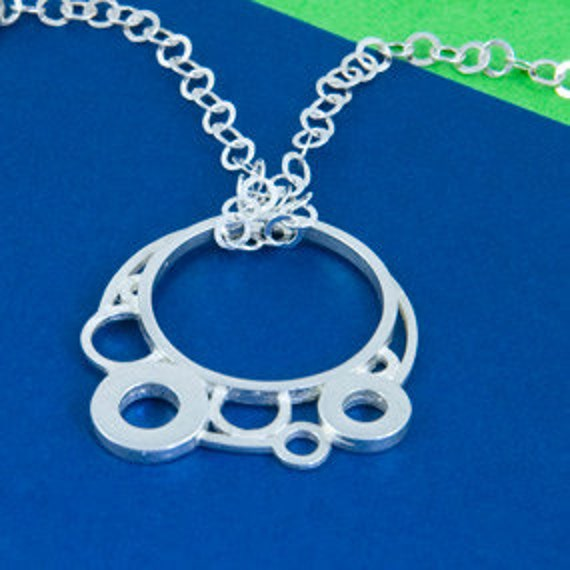 Small bubbles silver eyeglass necklace w/ silver chain