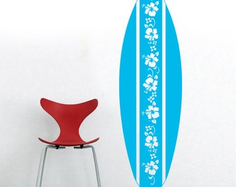 HUGE Surf Board Hibiscus Vinyl Decal Over 5 feet Tall by Decomod Wall
