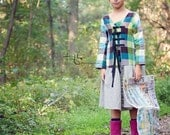 Green Mountain Dress, Fall and Holiday outfit with D-ring clasps in cozy flannel plaid and ticking stripefor girls