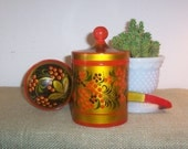 Vintage Hand Crafted Khokhloma Painted Lacquer Art Canister and Spoon Made in USSR