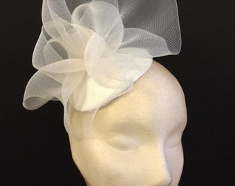 Ivory Crin Ruffle Button - Great contemporary bridal hat