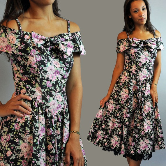 80s vintage dress FLORAL DRESS / romantic dress / off shoulder dress w/ sweetheart neckline & shawl collar S / M