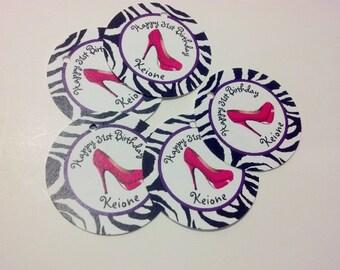 20 Zebra Print Shoe Hang Tags