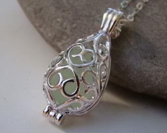 Silver Filigree Teardrop Locket Pendant - Seafoam Sea Glass Necklace