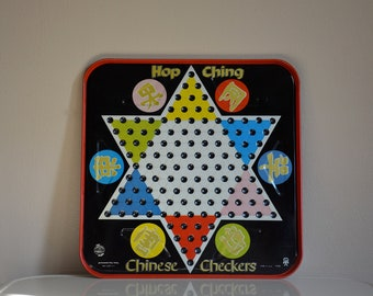 Vintage Metal Chinese Checkers Game Board.