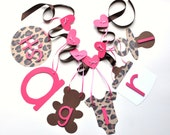 Cheetah baby shower decorations leopard pink and brown it's a girl banner by ParkersPrints on Etsy