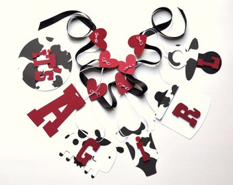 Cowgirl shower decorations red and black cow it's a girl banner by ParkersPrints on Etsy