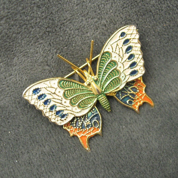 Vintage Butterfly Brooch Spain Enamel