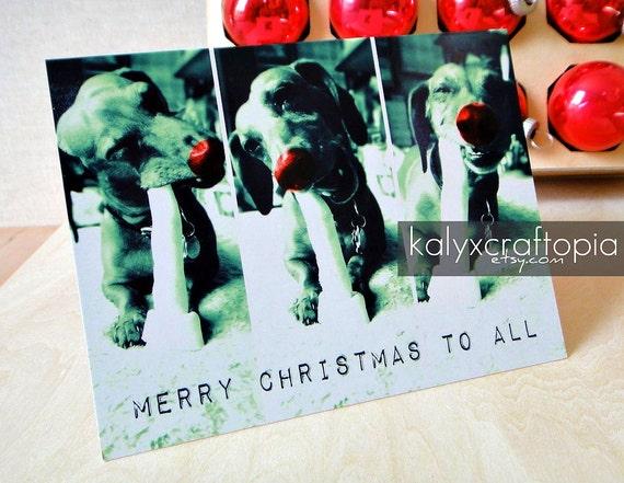 Modern Merry Christmas to All Happy Dachshund Card