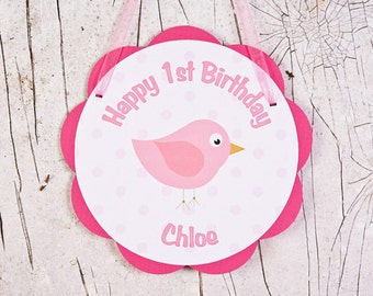 Birdie Door Sign - Happy Birthday Party Decoration - Birdie Birthday Theme in Hot & Light Pink