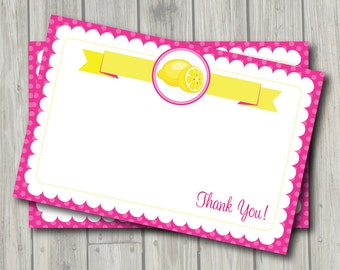 Pink Lemonade Thank You Note - Lemonade Birthday Party or Baby Shower Thank You Card - Digital Printable Thank You in Yellow and Pink