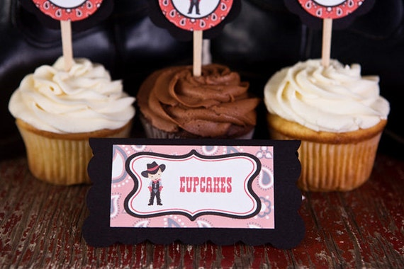Cowboy Theme Food Tents - Menu Cards - Place Cards - Food Signs - Cowboy Party & Shower Decorations in Red and Black (6)