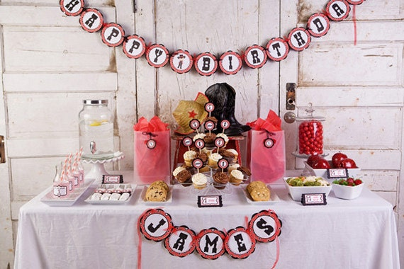 Cowboy Theme HAPPY BIRTHDAY Banner Party Decorations, Cowboy Birthday Banner, Cowboy Birthday Party Decorations in Red & Black