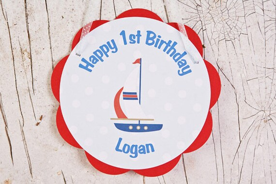 Sailboat Door Hanger Happy Birthday Party Decoration Sign in Blue and Red, Sailboat Birthday Party Decoration