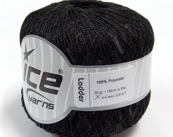black ladder ribbon trellis yarn 1 skein 50 gr bulky chunky turkish ice yarns usa florida 11126 ships via usps at usps cost
