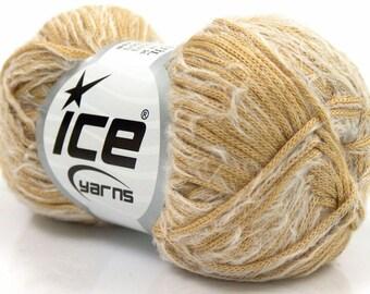 ice yarns samba camel white eyelash type blend ships from usa florida 50 gr. worsted afghan aran made in turkey acrylic nylon 16991