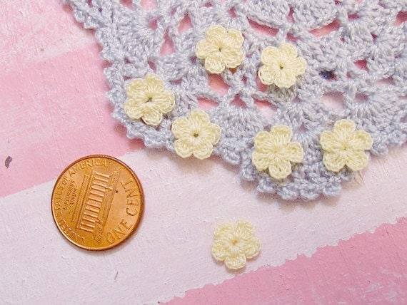 50 pcs. Super Tiny miniature 5 petals Crocheted Flowers in  Yellow