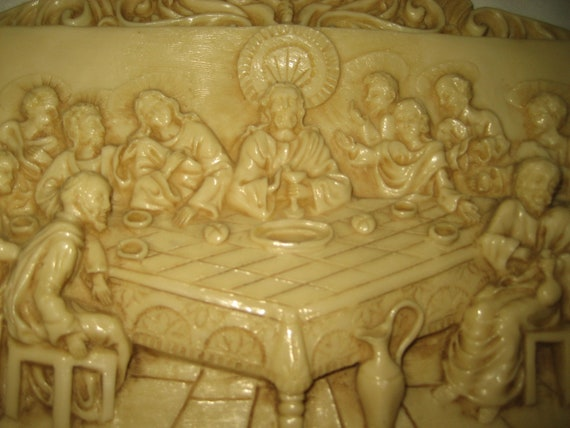 Vintage Ths Last Supper Ceramic Plaque