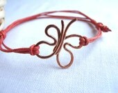 Handforged copper butterfly bracelet - wax tangerine tango cotton cord