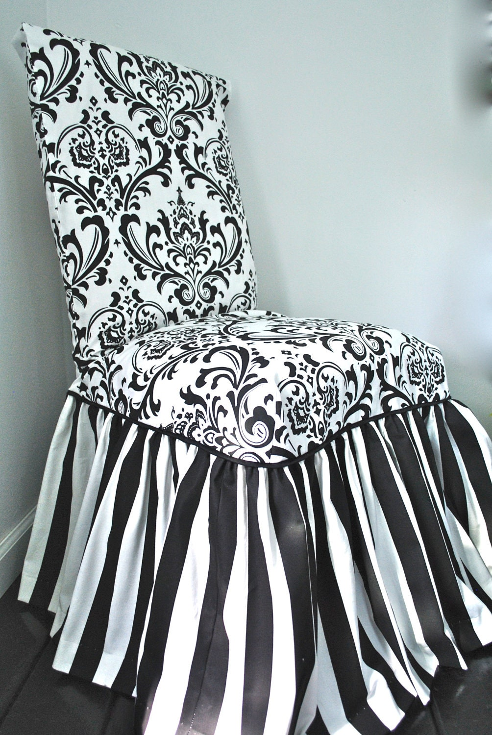 Damask And Stripe Chair Slipcover