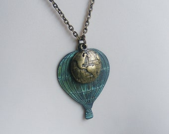 Hot Air Balloon Necklace. Verdigris Necklace. Globe Necklace. Turquoise Jewelry. Vintage Inspired. World Traveler