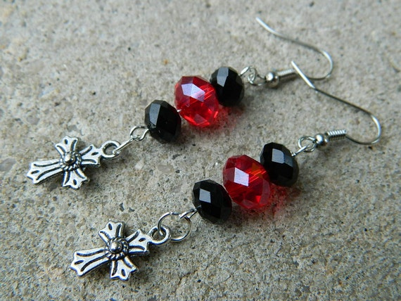 Red and Black Papa Legba's Cross Dangle Earrings
