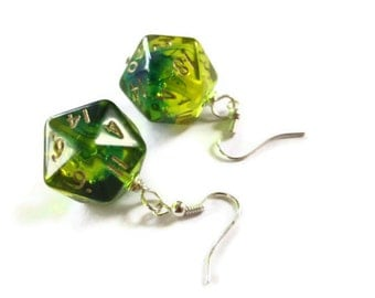 D20 dice earrings neon green yellow lime transparent geek gamer DnD role playing RPG dice jewelry dice
