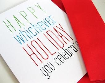 Funny Holiday Card Any Holiday Snarky Clever Card Christmas Politically Correct Card