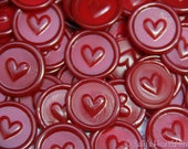 Heart Peel and Stick Faux wax Seals in Deep Red