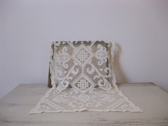 darned net lace table runner