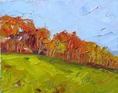 FRESH AIR, an original framed 8 x 10,  20 x 25 cm. oil painting on canvas board by Yvonne Wagner. Autumn. Landscape. Herbst. SALE.