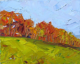 "FRESH AIR.  8 x 10"" original oil painting on canvas board by Yvonne Wagner. Landscape. Autumn."