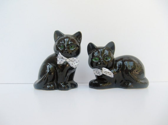 Vintage Ceramic Black Cats with Bow Ties - Flawed