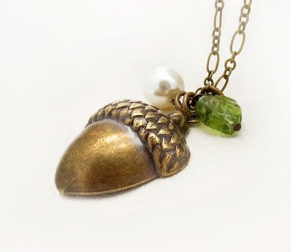 Pearl Acorn Necklace, Swarovski Pearl, Leaf Necklace, Woodland Wedding
