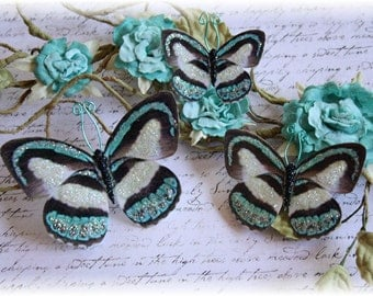 Teal Butterfly Embellishment Die Cuts for Scrapbooking, Cardmaking, Mini Albums, Tag Art, Mixed Media, Home Decor