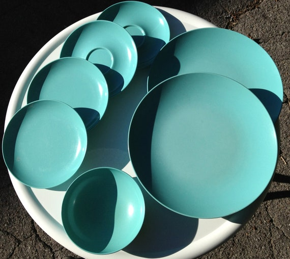 Lot of Teal Melmac Bowls, Plates, and  Saucers