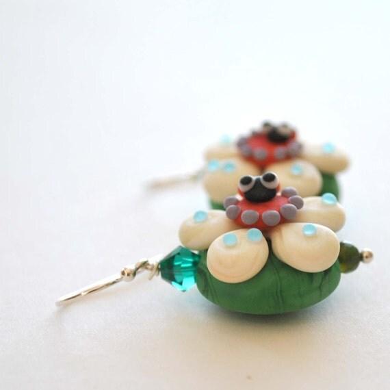 Lady Bug Flower Earrings on Sterling Silver, Lampwork Glass Earrings