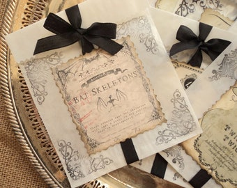 Trick or Treat. Twelve Apothecary Label Treat Bags for Sweet Ghouls and Goblins