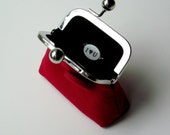 I Love You red and black linen purse ... groom to bride gift ... eco gift for her ... LAST ONE