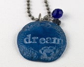 Handmade Colorful Dream Necklace Blue Necklace Handmade Word Necklace in Blue with the Word Dream