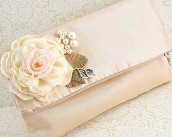 Champagne Clutch, Tan, Beige, Ivory, Silver, Peach, Wedding, Bridal, Handbag, Purse, Maid of Honor, Champagne, Pearls, Vintage Wedding
